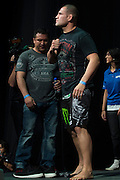 Cain Velasquez walks to the scale during the UFC weigh-in at the Mexico City Arena in Mexico City, Mexico on June 12, 2015. (Cooper Neill)