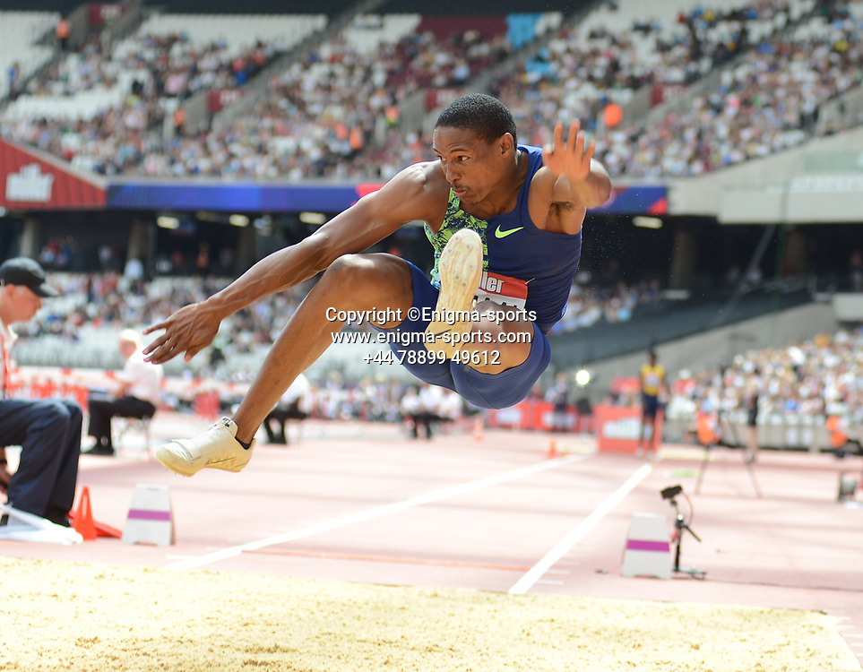 Ruswahl Samaai comes third in the long jump during the IAAF Diamond League at the Queen Elizabeth Olympic Park London, England on 20 July 2019.