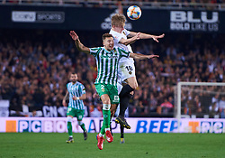 February 28, 2019 - Valencia, U.S. - VALENCIA, SPAIN - FEBRUARY 28: Daniel Wass, midfielder of Valencia CF competes for the ball with Francis Guerrero, defender of Real Betis Balompie during the Copa del Rey match between Valencia CF and Real Betis Balompie at Mestalla stadium on February 28, 2019 in Valencia, Spain. (Photo by Carlos Sanchez Martinez/Icon Sportswire) (Credit Image: © Carlos Sanchez Martinez/Icon SMI via ZUMA Press)