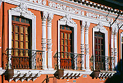 Sunlight on Neoclassical architecture of a building in Colonial Quito, Ecuador, South America