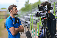 Forest Green Rovers Christian Doidge(9) being interviewed by ITV during the Forest Green Rovers Press Conference and Training session at the New Lawn, Forest Green, United Kingdom on 12 May 2017. Photo by Shane Healey.