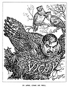 In April Come He Will. (Pierre Laval as a bird wears a Swastika tail and sits on a Vichy nest uncomfortably as Marshal Petain and Admiral Darlan look on from another branch)