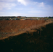 Large hole at waste landfill site