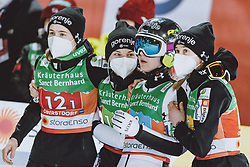 26.02.2021, Oberstdorf, GER, FIS Weltmeisterschaften Ski Nordisch, Oberstdorf 2021, Damen, Skisprung, HS106, Teambewerb, im Bild Nika Kriznar (SLO), Spela Rogelj (SLO), Ema Klinec (SLO), Urus Bogataj (SLO) // Nika Kriznar of Slovenia Spela Rogelj of Slovenia Ema Klinec of Slovenia Urus Bogataj of Slovenia during women ski Jumping HS106 Team Competition of FIS Nordic Ski World Championships 2021. Oberstdorf, Germany on 2021/02/26. EXPA Pictures © 2021, PhotoCredit: EXPA/ JFK