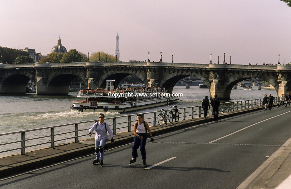 France. Paris. Pompidou highway along the seine river, closed on sunday, open for bicycles  . sunday without car on the voie express along   the seine river in the 4th area