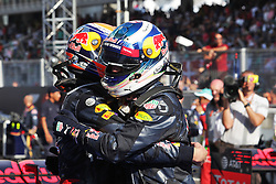 Race winner Daniel Ricciardo (AUS) Red Bull Racing (Right) celebrates with his second placed team mate Max Verstappen (NLD) Red Bull Racing in parc ferme.<br /> 02.10.2016. Formula 1 World Championship, Rd 16, Malaysian Grand Prix, Sepang, Malaysia, Sunday.<br /> Copyright: Photo4 / XPB Images / action press