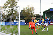 after Everton forward Nicoline Sorensen (14) shot hits the post during the FA Women's Super League match between Everton Women and Brighton and Hove Albion Women at the Select Security Stadium, Halton, United Kingdom on 18 October 2020.
