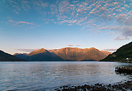 Mountain scenery on Hardanger Fjord at sunset. Vestlandet, Norway, Europe