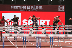 February 7, 2018 - Paris, Ile-de-France, France - From left to right : Florian Some of France, Benjamin Sedecias of France, Jonathan Cabral of Canada, Simon Krauss of France  compete in 60m Hurdles during the Athletics Indoor Meeting of Paris 2018, at AccorHotels Arena (Bercy) in Paris, France on February 7, 2018. (Credit Image: © Michel Stoupak/NurPhoto via ZUMA Press)