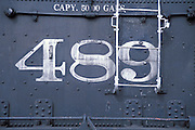 Engine number on the side of a steam engine at the Cumbres & Toltec Scenic Railroad depot, Chama, New Mexico