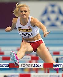 07.03.2014, Ergo Arena, Sopot, POL, IAAF, Leichtathletik Indoor WM, Sopot 2014, Tag 1, im Bild KAROLINA TYMINSKA // KAROLINA TYMINSKA during day one of IAAF World Indoor Championships Sopot 2014 at the Ergo Arena in Sopot, Poland on 2014/03/07. EXPA Pictures © 2014, PhotoCredit: EXPA/ Newspix/ Marek Biczyk<br /> <br /> *****ATTENTION - for AUT, SLO, CRO, SRB, BIH, MAZ, TUR, SUI, SWE only*****