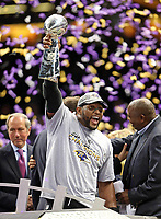 San Francisco 49ers Baltimore Ravens during Super Bowl XLVII on January 3, 2013New Orleans. <br /> Ravens Ray Lewis holds up the Lombardi Trophy<br /> ( Photo/Tom DiPace)