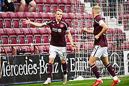 GOAL 1-0 Gary Mackay-Steven (#11) of Heart of Midlothian FC celebrates after scoring the opening goal during the Cinch SPFL Premiership match between Heart of Midlothian FC and Celtic FC at Tynecastle Park, Edinburgh, Scotland on 31 July 2021.