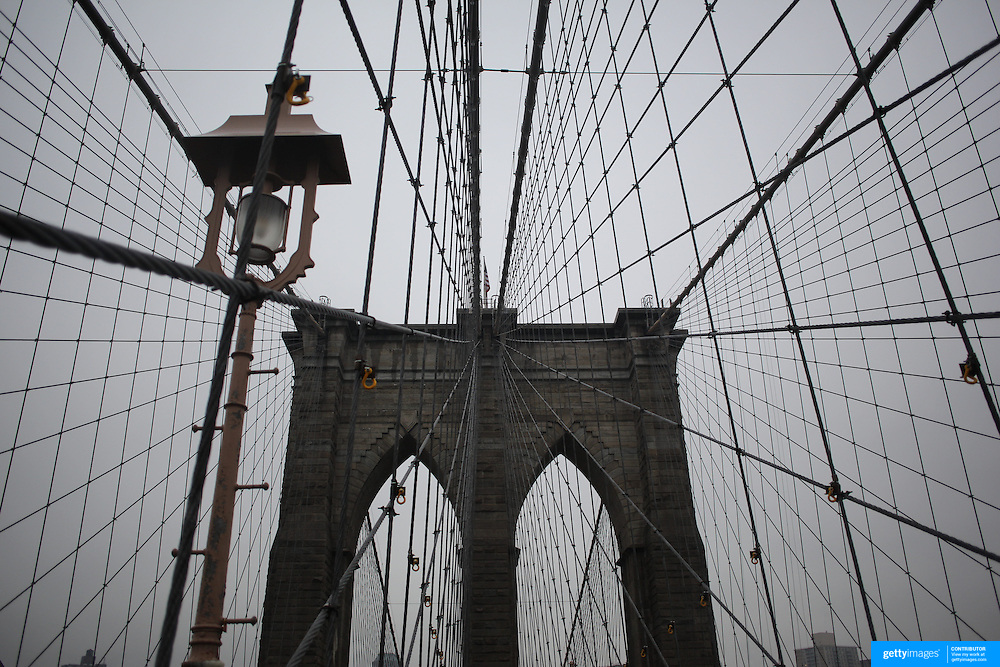 A view of the structure of Brooklyn Bridge. The iconic bridge links Manhattan and Brooklyn in New York City, USA. Photo Tim Clayton