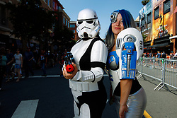 July 20, 2017 - San Diego, California, U.S. - DAWN ABBOTT, of San Diego dressed as a Storm Trooper and her daughter KENDRA ABBOTT dressed as R2-D2 at Comic-Con. (Credit Image: © K.C. Alfred/San Diego Union-Tribune via ZUMA Wire)