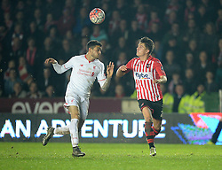 Tom Nichols of Exeter City battles for the ball with Kevin Stewart  of Liverpool - Mandatory byline: Alex James/JMP - 08/01/2016 - FOOTBALL - St James Park - Exeter, England - Exeter City v Liverpool - FA Cup Third Round