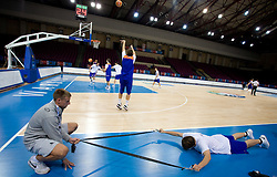 Matjaz Vezjak and Matjaz Smodis  at practice of Slovenian National Basketball team in Arena Torwar two days before the beginning of the Eurobasket 2009, on September 05, 2009 in Warsaw, Poland. (Photo by Vid Ponikvar / Sportida)