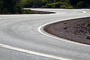 Winding road on Mount Shasta, California.