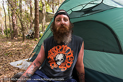 In the campground across from the Cabbage Patch during Daytona Beach Bike Week 2015. FL, USA. Wednesday, March 11, 2015.  Photography ©2015 Michael Lichter.