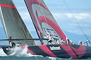 Alinghi rounds the top mark in the lead over Stars and Stripes in their round robin two match. 31/10/2002 (© Chris Cameron 2002)