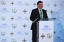 FAI President Donal Conway during the announcement at Windsor Park, Belfast, that the FAI & IFA will perform a joint bid for the 2023 UEFA U21 Championship.