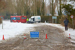 © Licensed to London News Pictures. 02/03/2018. Stoke Mandeville, UK.  Thames Valley Police deal with a bus and van that collided early this morning. Drifting snow is causing significant problems on rural Buckinghamshire roads. Nationwide the UK is experiencing its four day of heavy snow causing travel chaos.  Photo credit: Cliff Hide/LNP