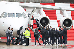 Romelu Lukaku, Juan Mata, Henrikh Mkhitaryan and Ander Herrera, Jesse Lingard and Marcus Rashford as the Manchester United team fly to Wales on Tuesday morning for their Carabao Cup match against Swansea City
