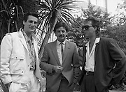 """Sade and Tony Hadley Interviews.  P92..1984.21.08.1984..08.21.1984..21st August 1984..As part of his interview sessions for """"Video File"""" for R.T.E., Marty Whelan interviewed international music stars. The interviews were held in the R.T.E.,studios and at various hotels throughout the city...Image shows R.T.E.,personality Marty Whelan (centre) with Spandau Ballet members Tony Hadley and Martin Kemp."""