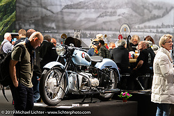 An antique Universal brand motorcycle manufactured in Switzerland and on display of antique Swiss manufactured motorcycles in the Swiss-Moto Customizing and Tuning Show. Zurich, Switzerland. Friday, February 22, 2019. Photography ©2019 Michael Lichter.