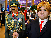 "05 NOVEMBER 2017 - BANGKOK, THAILAND: A ""Donald Trump"" cosplayer with another cosplayer in Nazi regalia during a cosplay event at Paragon, an upscale shopping mall in the center of Bangkok.     PHOTO BY JACK KURTZ"