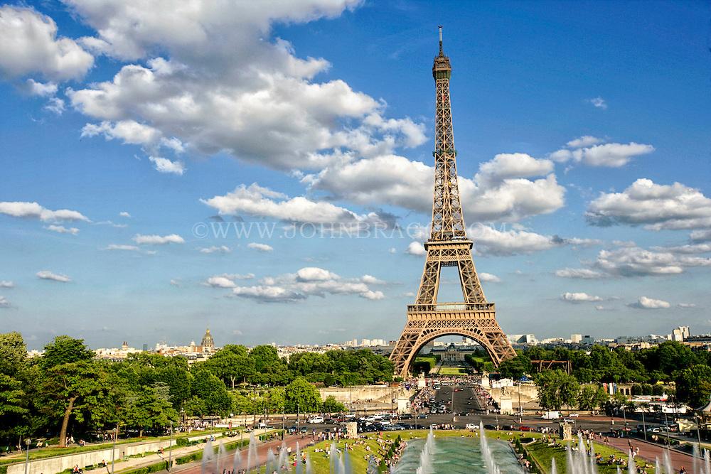 The Eiffel Tower, Trocadero Fountains, Paris France - Horizontal.