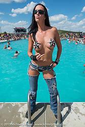 Angela Renner at the Broken Spoke Campground pool during the 75th Annual Sturgis Black Hills Motorcycle Rally.  SD, USA.  August 6, 2015.  Photography ©2015 Michael Lichter.