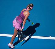 Victoria Azarenka (BLR) in Day 2 Australian Open play. Azarenka beat J. Larsson (SWE) 7-6, 6-2 in first round play of the 2014 Australian Open at Melbourne's Rod Laver Arena.