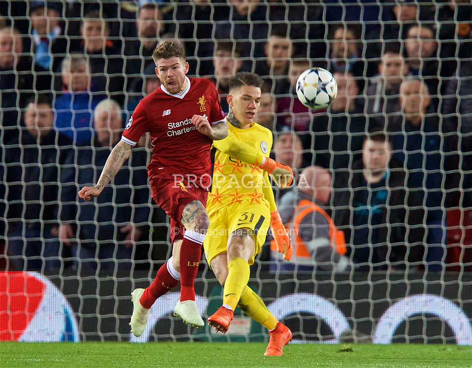 LIVERPOOL, ENGLAND - Wednesday, April 4, 2018: Liverpool's Alberto Moreno (left) and Manchester City's goalkeeper Ederson Moraes (right) during the UEFA Champions League Quarter-Final 1st Leg match between Liverpool FC and Manchester City FC at Anfield. (Pic by David Rawcliffe/Propaganda)