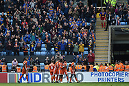 Shrewsbury Town forward Fejiri Okenabirhie (12) scores a goal and celebrates during the EFL Sky Bet League 1 match between Coventry City and Shrewsbury Town at the Ricoh Arena, Coventry, England on 28 April 2019.