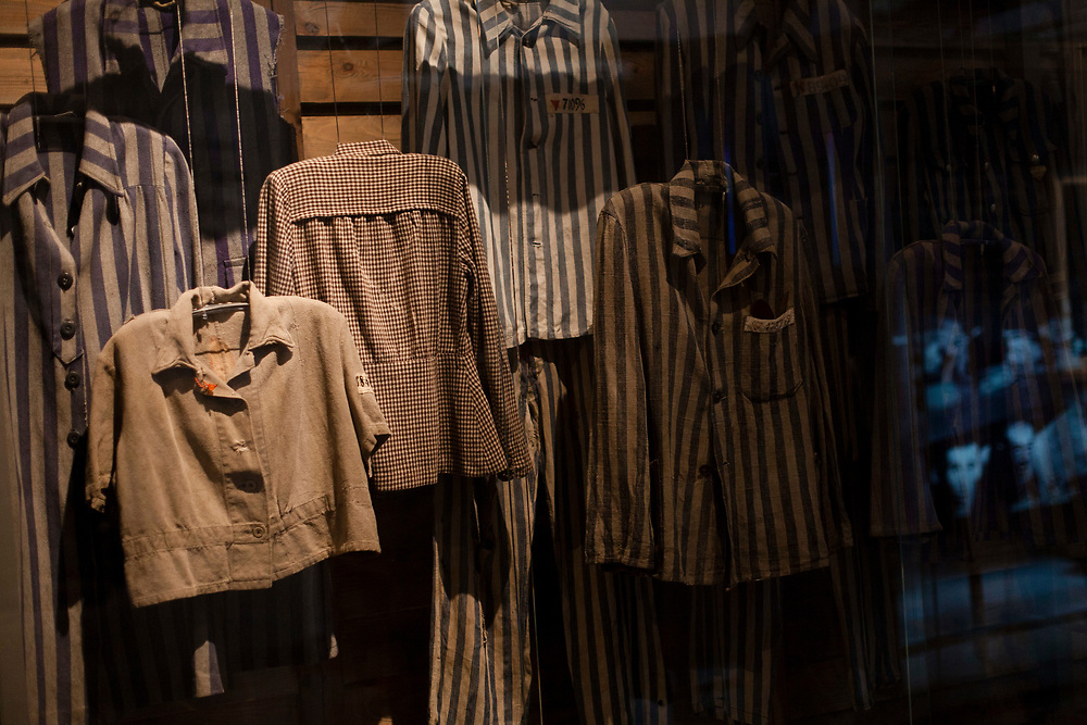 An exhibit of striped uniform belonging to Jewish concentration camps prisoners is seen at the Yad Vashem Holocaust memorial in Jerusalem on April 5, 2013, ahead of the annual Israeli memorial day commemorating the six million Jews killed by the Nazis during World War II.