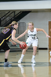 12 December 2015:  Samantha Ellsworth defends Mickey Roland during an NCAA women's basketball game between the Wisconsin Stevens Point Pointers and the Illinois Wesleyan Titans in Shirk Center, Bloomington IL