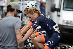 Sara Penton (SWE) of Team Virtu Cycling warms up for Stage 2 of 2019 OVO Women's Tour, a 62.5 km road race starting and finishing in the Kent Cyclopark in Gravesend, United Kingdom on June 11, 2019. Photo by Balint Hamvas/velofocus.com