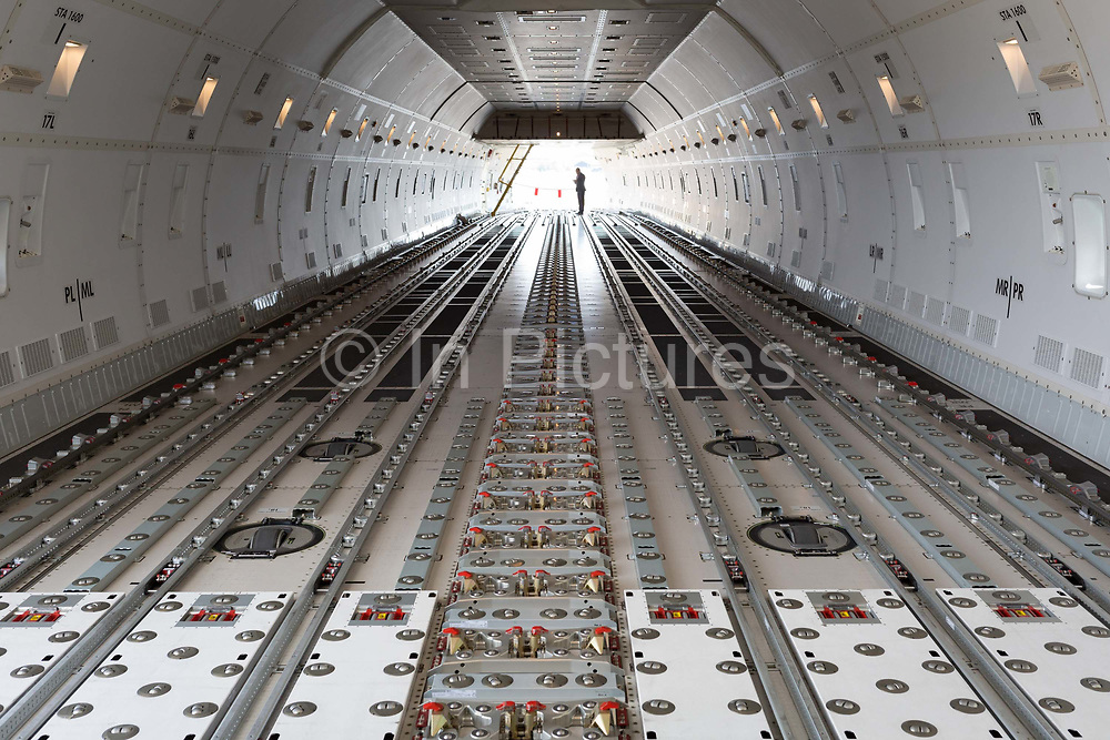 The flooring of a Qatar Airlines 747-800 Cargo aircraft on display at the Farnborough Airshow, on 16th July 2018, in Farnborough, England.