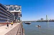 the Crane Houses by architect Hadi Teheran in the Rheinau harbour, Severins bridge, Cologne, Germany.<br /> <br /> die Kranhaeusern von Architekt Hadi Teherani im Rheinauhafen, Severinsbruecke, Koeln, Deutschland .
