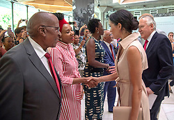 The Duchess of Sussex meets Nelson Mandela's granddaughter Zamaswazi Dlamini- Mandela during her visit to the Nelson Mandela centenary exhibition at Southbank Centre's Queen Elizabeth Hall, London.
