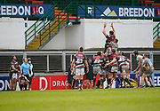 Leicester Tigers hooker Julián Montoya throws into a line out during a Gallagher Premiership Round 10 Rugby Union match, Friday, Feb. 20, 2021, in Leicester, United Kingdom. (Steve Flynn/Image of Sport)