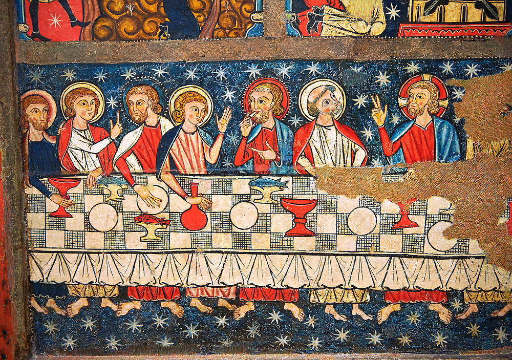 Gothic altar panel depicting the Last Supper. End of the 13th century, tempera on a spruce wooden panel  from  The Church of Sant Miguel de Soriguerola, Cerdanya, Huesca, Spain. Inv MNAC 43901. National Museum of Catalan Art (MNAC), Barcelona, Spain .<br /> <br /> If you prefer you can also buy from our ALAMY PHOTO LIBRARY  Collection visit : https://www.alamy.com/portfolio/paul-williams-funkystock/romanesque-art-antiquities.html<br /> Type -     MNAC     - into the LOWER SEARCH WITHIN GALLERY box. Refine search by adding background colour, place, subject etc<br /> <br /> Visit our ROMANESQUE ART PHOTO COLLECTION for more   photos  to download or buy as prints https://funkystock.photoshelter.com/gallery-collection/Medieval-Romanesque-Art-Antiquities-Historic-Sites-Pictures-Images-of/C0000uYGQT94tY_Y