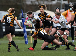 Ebony Jefferies of Exeter Chiefs is challenged by Kate Alder of Wasps - Mandatory by-line: Arron Gent/JMP - 06/03/2021 - RUGBY - Twyford Avenue - Acton, England - Wasps FC Ladies v Exeter Chiefs Women - Allianz Premier 15s