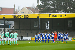 Bristol Rovers players pause for a minutes silence in memory of Diego Maradonna - Rogan/JMP - 30/11/2020 - FOOTBALL - Memorial Stadium - Bristol, England - Bristol Rovers v Darlington - FA Cup Second Round Proper.