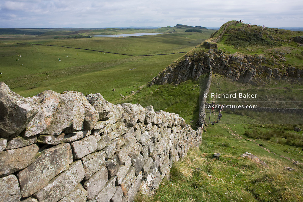 Wide landscape of Roman Hadrian's Wall, once the northern frontier of Rome's empire from Barbarian tribes.