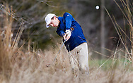 Marquette's Blake Mazzolal blasts out of some thick brush during the SLUH Bantle Memorial Golf Tournament on Thursday, March 28, 2019, at Missouri Bluffs Golf Club in St. Charles County, Mo.  Gordon Radford   Special to STLhighschoolsports.com