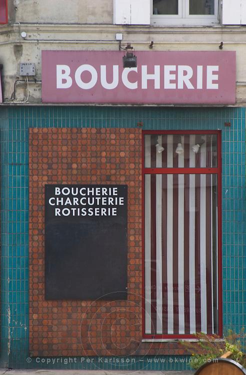 A closed boucherie butcher shop in Entre deux Mers. Bordeaux, France