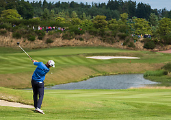 Gleneagles, Scotland, UK; 10 August, 2018.  Day three of European Championships 2018 competition at Gleneagles. Men's and Women's Team Championships Round Robin Group Stage. Four Ball Match Play format.  Pictured;  Iceland's Birgir Hafthorsson plays approach to 9th green in match against Norway.