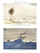 """Official War Artists at Work. I.The Landscape Artist-""""Tanks crossing a river.""""  II. The Sporting Artist-""""Raiders at Dawn."""""""